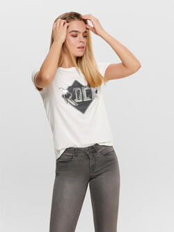 JDY Vit / Cloud Dancer Rock Style T-shirt