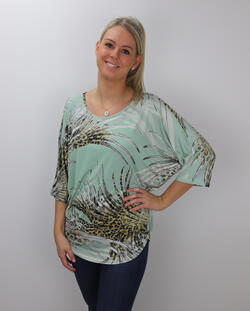 Mint Green Print Blouse med smart rygg