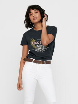 JDY Black Rock Fever T-Shirt