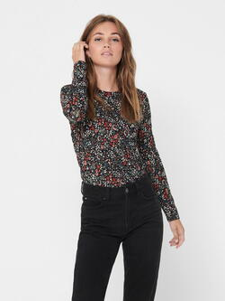 JDY Black Red Flower Svan Top