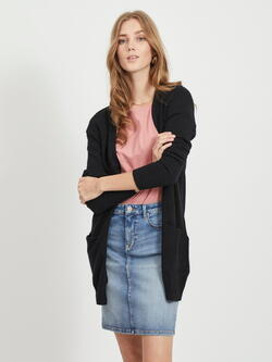 VILA Black Viril Open Stickad Cardigan
