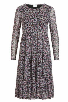 VILA Black Flowers Vidavis Dress
