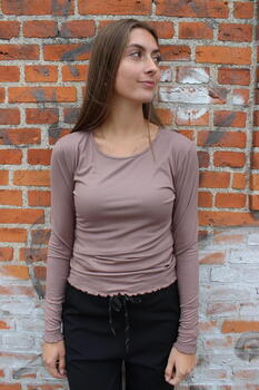 LIBERTÉ Light Brown Natalia LS Round Neck Bluse
