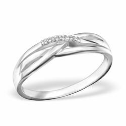 Ring sterling silver 925 band med Cubic Zirconia Stone