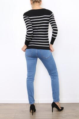 Navy Stribet Strikbluse