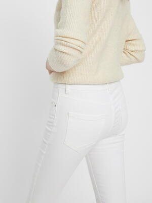 Pieces White Mid-Raise Skinny Jeans