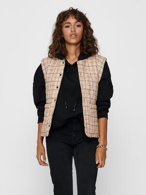 ONLY Cloud Dancer Checks ONLELLIE Quilted Vest