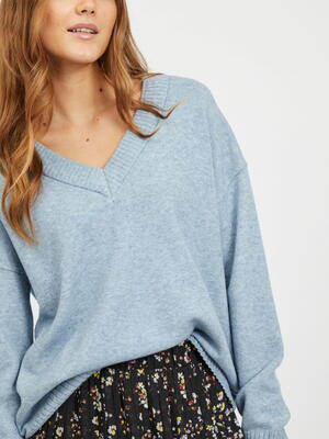 VILA Ashley Blue VIRIL Oversize stickad