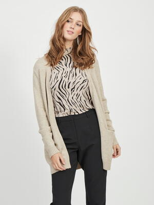 VILA Natural Melange Viril Open Strikket Cardigan