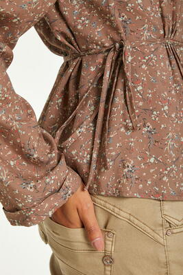 CREAM Rose Brown Flower CRHANY Bluse