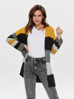 JDY Gul/Harvest gold stribet strikket cardigan