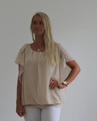 Beige blus med chiffong