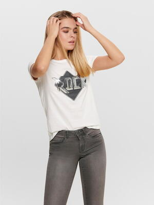 JDY Hvid/Cloud Dancer  Rock Style T-Shirt