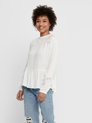 JDY White / Cloud Dancer Ruffle Blouse