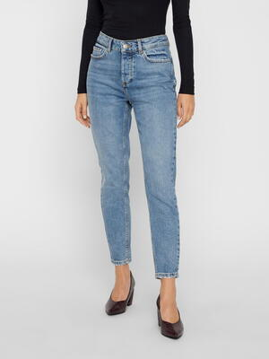 PIECES Blå Slim Mid-Waist Cropped Jeans