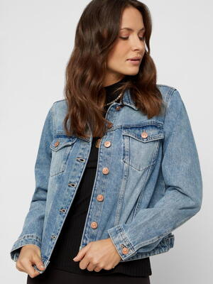 PIECES Blå Regular Fit Denim Jakke