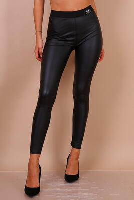Sorte Læderlook Leggings