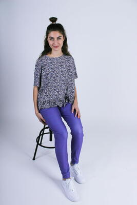 LIBERTÉ Purple Flower Alma Frill T-shirt